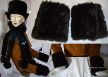 winter 2-wristarmers, black-coffee, brown-chocolate, faux-fur