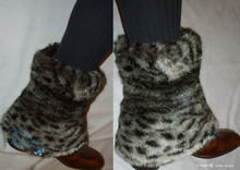 leg warmers, lynx, leopard faux-fur, black, white, grey