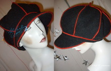 winter cap, XL, black and red wool, eccentric retro hat