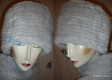 elegant hat 58-59, white gray pearl faux fur, 2012 winter