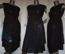 party black dress, M, silver and fushia sequins, night