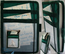 notebook, travel, pocket notebook, green emerald and green bottle