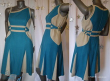 futuristic retro dress, blue turquoise silk and naturel linen