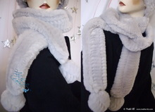 elegance, scarve, white gray pearl, 2 PomPom, faux fur, 2012-winter