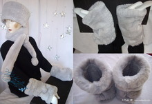 muffs, 2 wristbands, white gray pearl faux-fur, 2012-winter
