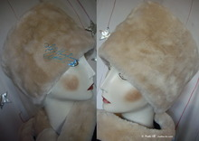 elegant hat, toque 56-57, white cream beige faux fur, 2012 winter