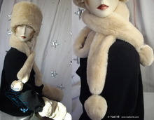 2 PomPom scarve, white cream beige faux fur, elegance 2012 winter