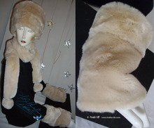 wristbands, 2 muffs, white cream beige faux-fur, elegance 2012 winter