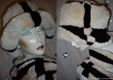 eccentric hat, L, white cream and black faux fur, 2012 elegance winter