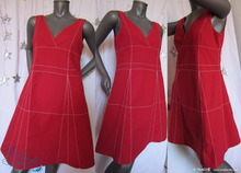 trapezium graph dress, 40/M, red cotton, white lines, summer sun