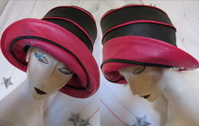 eccentric rain hat, XL, black and pearly fushia pink leatherette