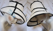 summer hat, elegant retro side woman, 56-57, black and sand-white, cotton and linen 100%