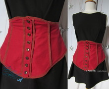 waist-belt, dress-ornamental-belt, 38-40-S, waist-belt, red-brickred, linen and cotton