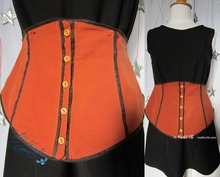 dress-waist-ornamental-belt, 40-42-M, terra-cotta and chocolate, linen and cotton