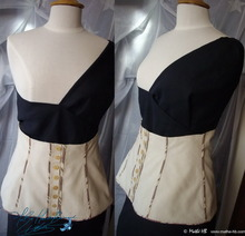 corsage belt, brown cream & chocolate lin cotton