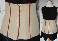 belt, corsage belt, naturel & brickred lin, cotton