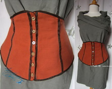 waist-ornamental-belt, 38-40-S, red terra-cotta and chocolate linen-cotton, waist-elegante-woman