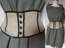 elegant waist woman, 38-S, ornamental-belt, naturel linen and blue-night