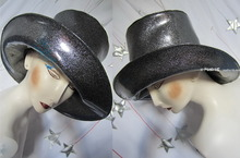 silver sequins black rain hat, XL, leatherette, show, night, party, disguises