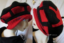 autumn beret, L-XL, black and red, felted wool knitted, winter hat
