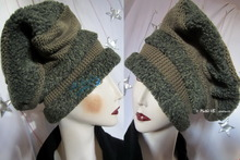 autumn beret, M-L, flecked khaki and olive green, winter hat