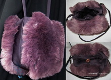 shoulder bag, plum and burgundy, faux-fur and satin crep