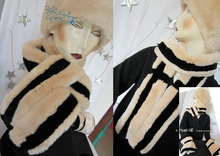 eccentric scarve, white cream and black, faux fur, 2012 elegant winter