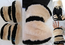 2 wristbands, muffs, white cream and black, faux fur, elegance eccentric 2012 winter