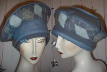 beret, petroleum blue, felted wool, winter-autumn hat