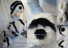 wolf white muffs, wristbands, night-navy wave, winter-wedding ceremony