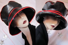 rain hat, black-ebony and red, 62-63/XXL, eccentric-retro, originals rain hats