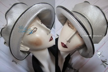 rain hat -Maïkésa- silver-white and silver-sequins-black, XL
