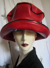 woman excentric rain hat, red and black, L-XL