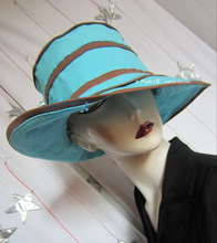 Hat of summer sun, chocolat and turquoise cotton-linen, XL
