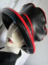 rain hat, black and red, excentric woman,  59-61/L-XL