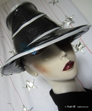 futuristic-retro rain-hat, -Milana- silver-sequins-black and pearly white, L