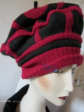 beret hat, black wool and red knitted recycled, 2012-2013 winter hats