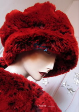 hat, beret, red and purple imitation fur, 2012 winter elegance