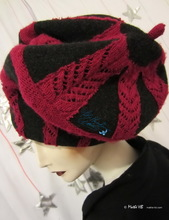 beret, mouse-grey-black wool and red knitted recycled, 2012-2013 winter hat