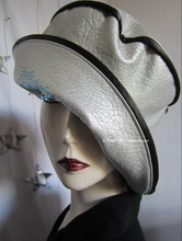 rain hat, black and pearly pearl silver, L-XL