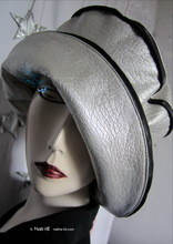 rain hat, black and pearly pearl silver, 56-57-58cm/M-L