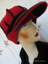 winter cap, black and red, recycled knitting wool