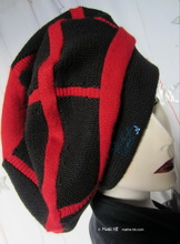 winter beret, black and red recycled knitting wool, unisex