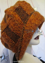 winter hat, brick-red-orange-black, recycled knitted-wool