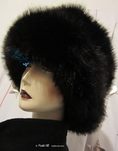 winter hat, iridescent plum-black faux-fur, eccentric elegant hats