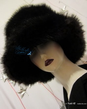 winter hat, L-XL, iridescent plum-black faux-fur, 2013 winter hats