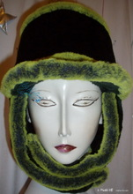 schapka, cap, faux fur, futuristic, flash-green