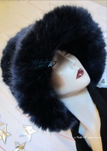 Hat, night marinates iridescent blue, 56-59/M-L, faux-fur, 2013-winter