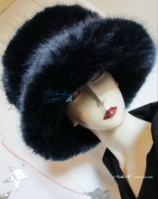 hat, night marinates iridescent blue, 58-61/L-XL, faux-fur, 2013 winter