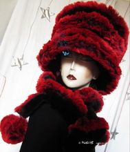 spiral hat, black and red-plum faux-fur, 2012-2013 winter avant-gardist elegance